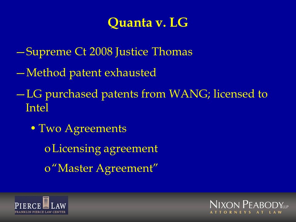 Quanta v. LG Supreme Ct 2008 Justice Thomas Method patent exhausted