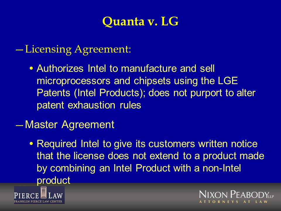 Quanta v. LG Licensing Agreement: Master Agreement