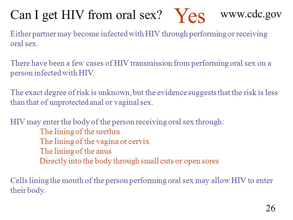 Chance hiv infection oral sex