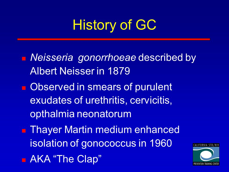 History of GC Neisseria gonorrhoeae described by Albert Neisser in 1879.