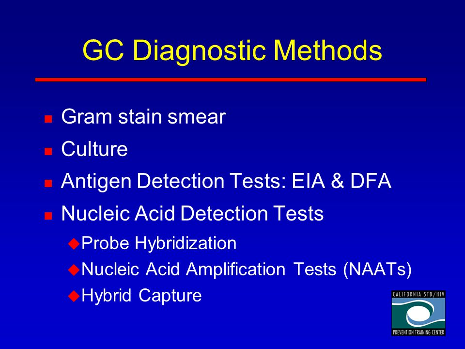 GC Diagnostic Methods Gram stain smear Culture