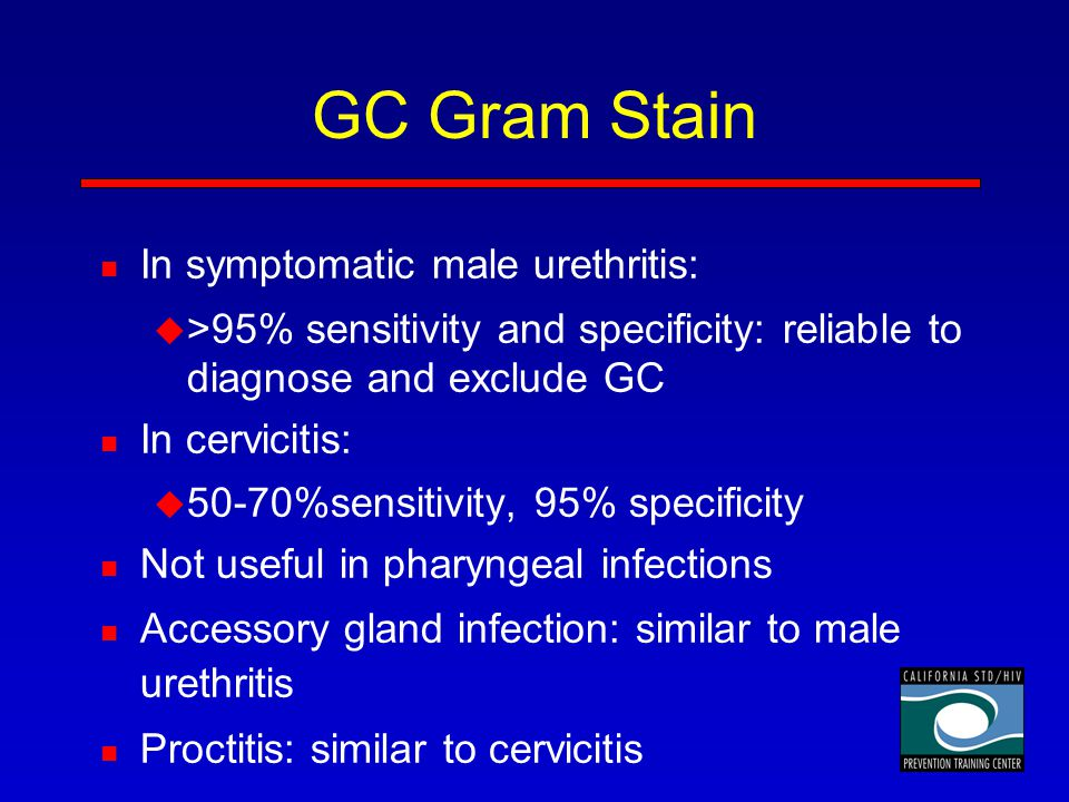 GC Gram Stain In symptomatic male urethritis: