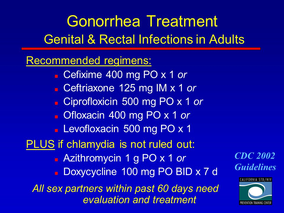 Gonorrhea Treatment Genital & Rectal Infections in Adults