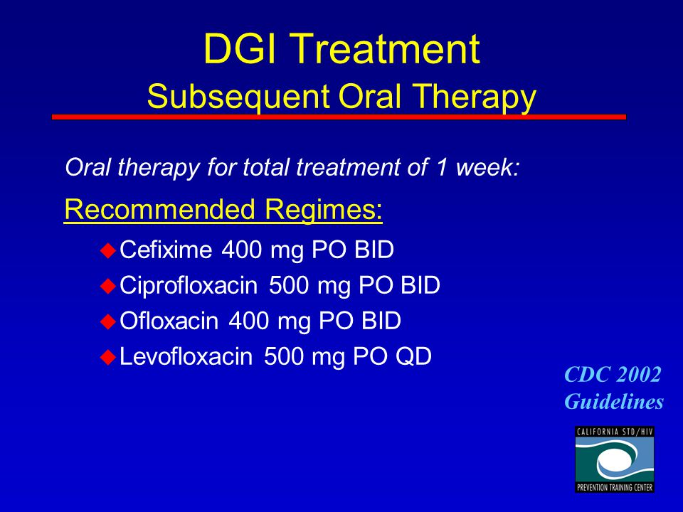 DGI Treatment Subsequent Oral Therapy