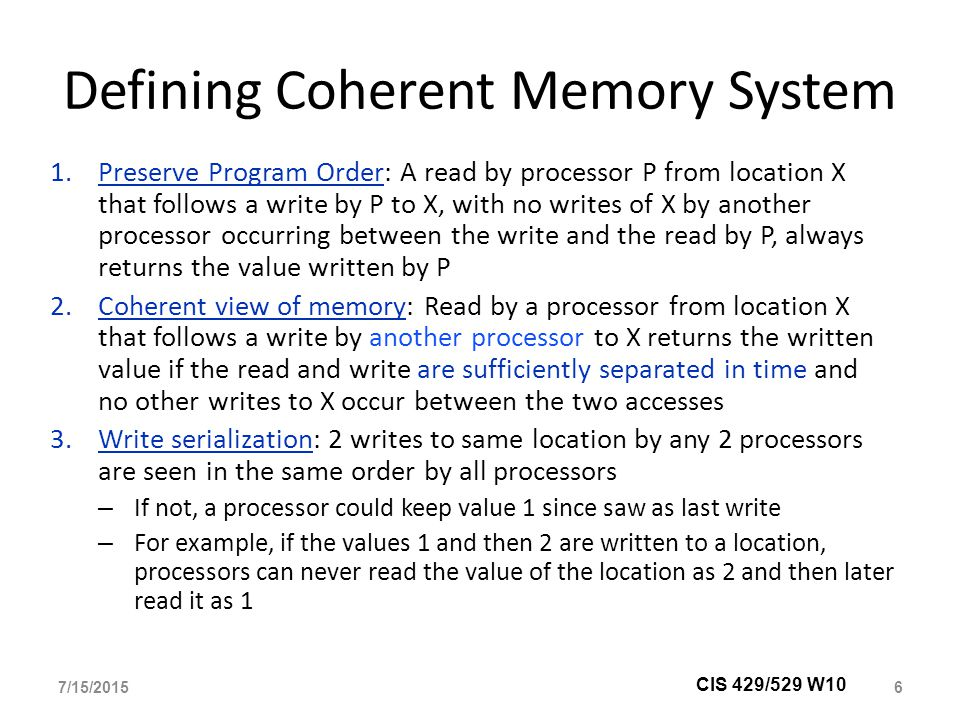 Defining Coherent Memory System