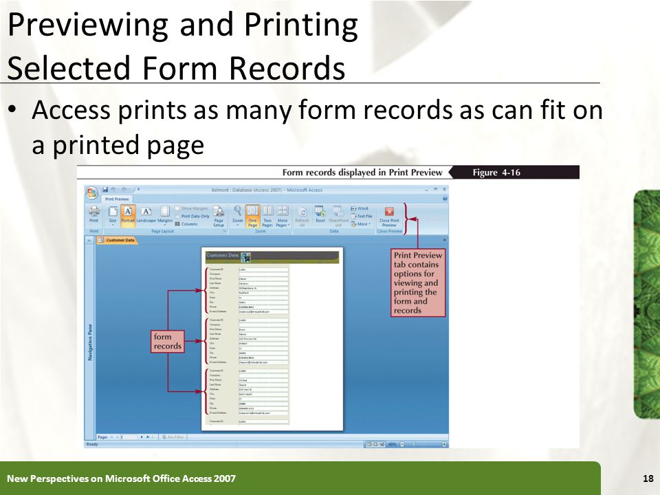 Previewing and Printing Selected Form Records