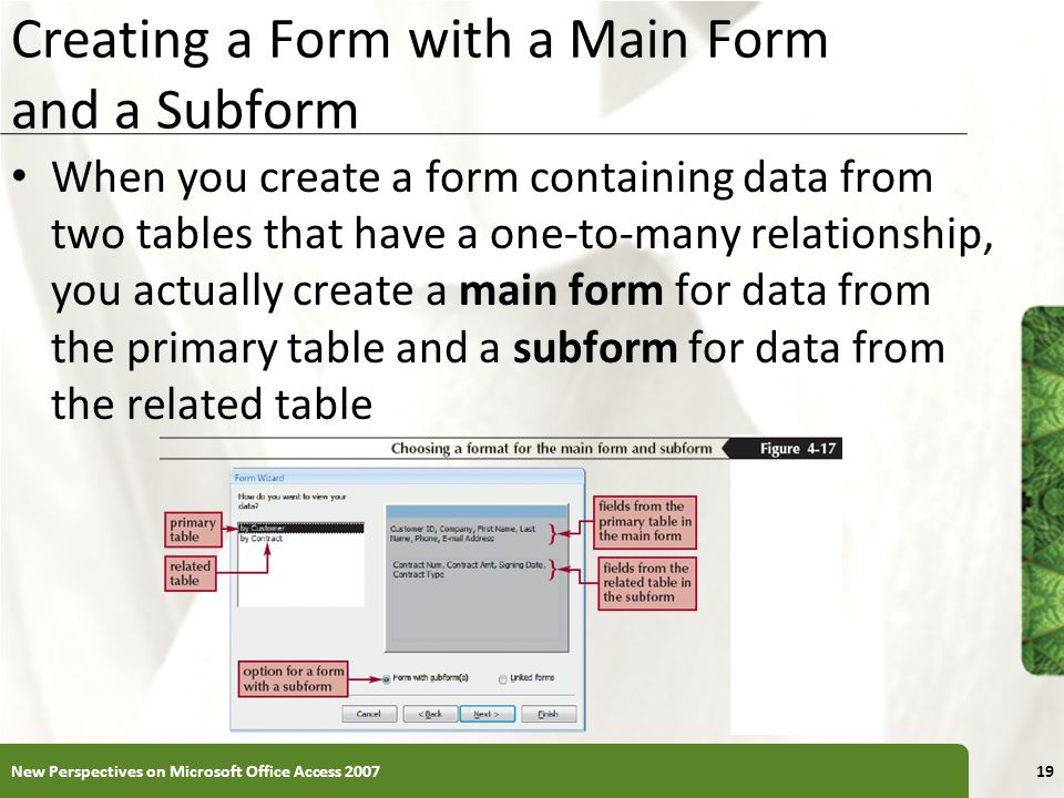 Creating a Form with a Main Form and a Subform