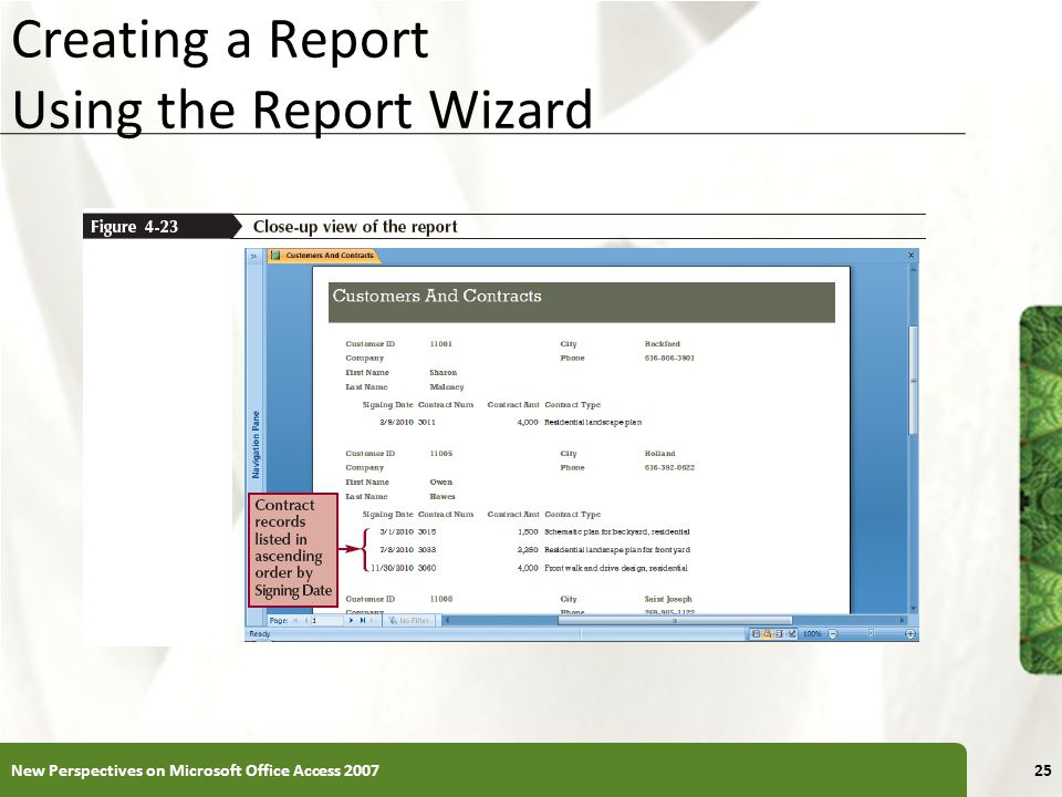 Creating a Report Using the Report Wizard
