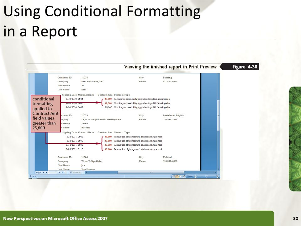 Using Conditional Formatting in a Report