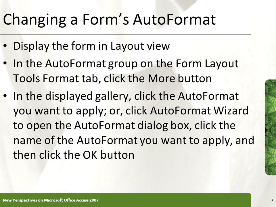 Changing a Form's AutoFormat