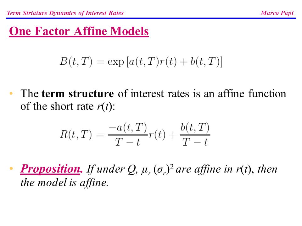 interest rate modelling one factor