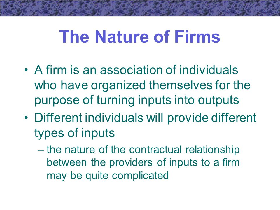 "nature of the firm Other articles where the nature of the firm is discussed: ronald coase:other published works include ""the nature of the firm"" (1937), his seminal paper in which he introduced the concept of transaction costs to explain the evolution of companies and industries the firm, the market, and the law (1988) and how china became capitalist (2012 with ning wang)."
