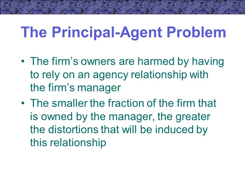 principal agent problem The principal–agent problem (also known as agency dilemma or theory of agency) occurs when one person or entity (the agent) is able to make decisions on behalf of, or that impact, another.