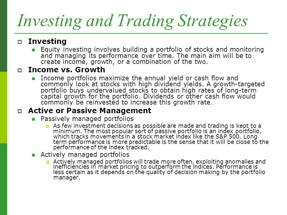 Trading strategies long term