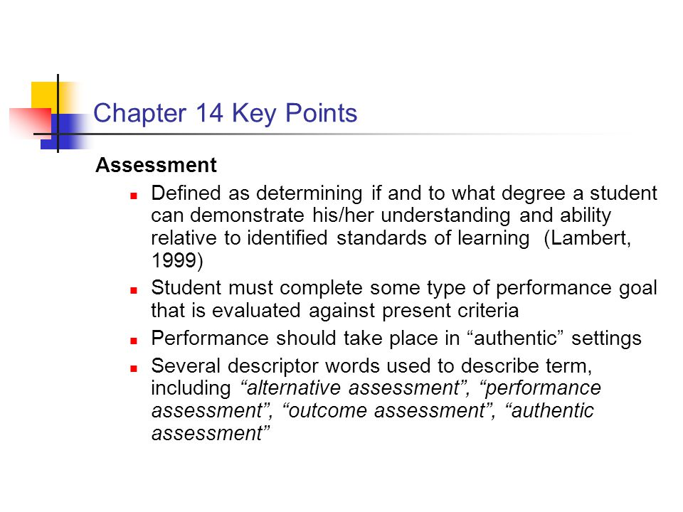 Chapter 14 Key Points Assessment