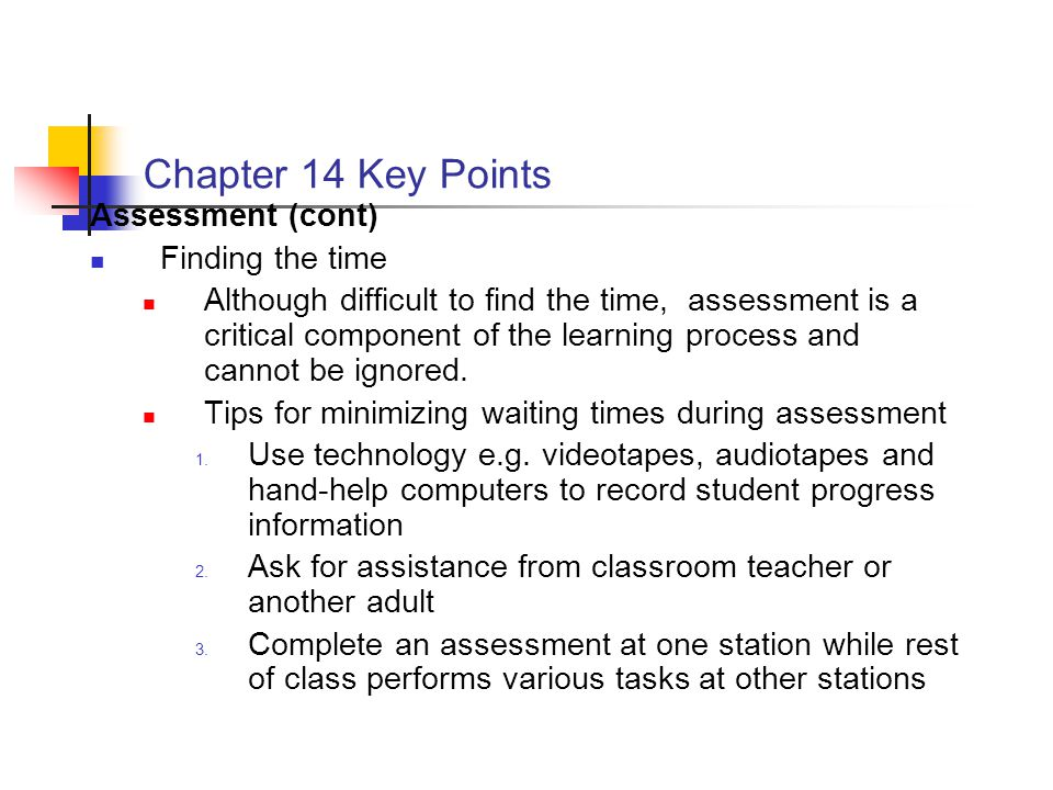 Chapter 14 Key Points Assessment (cont) Finding the time