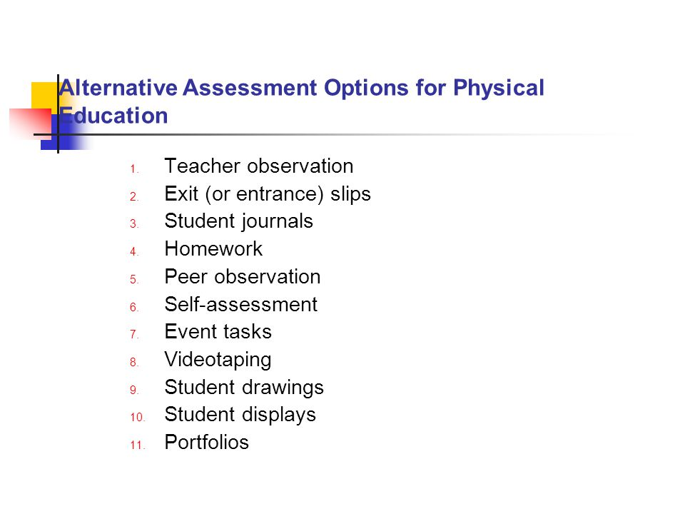 Alternative Assessment Options for Physical Education
