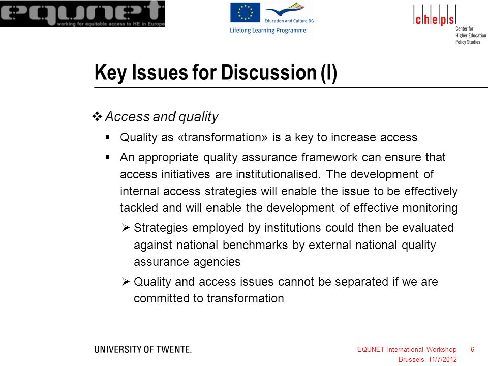 Key Issues for Discussion (I)