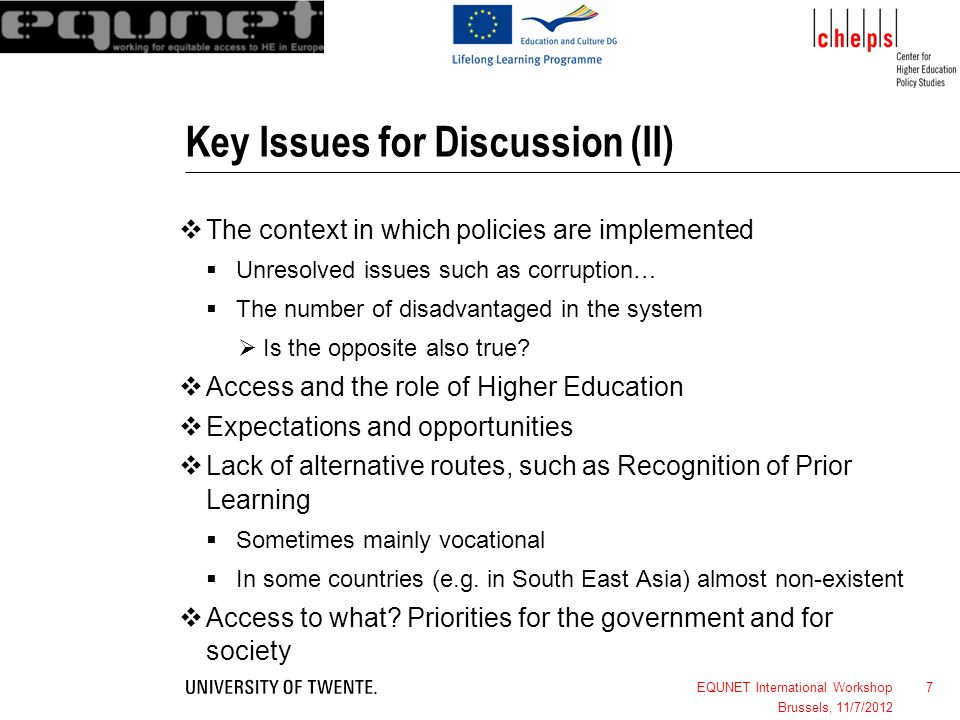 Key Issues for Discussion (II)