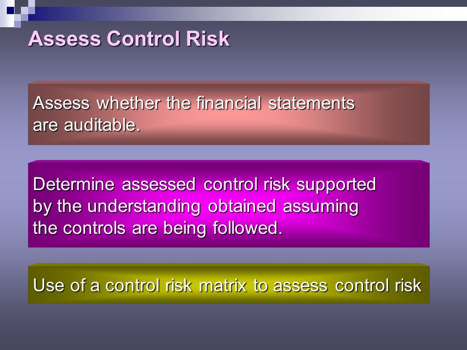assessing risk from financial statements an Test your assess control risk  control risk is to contribute to the auditor's evaluation of the risk that material misstatements exist in the financial statements.