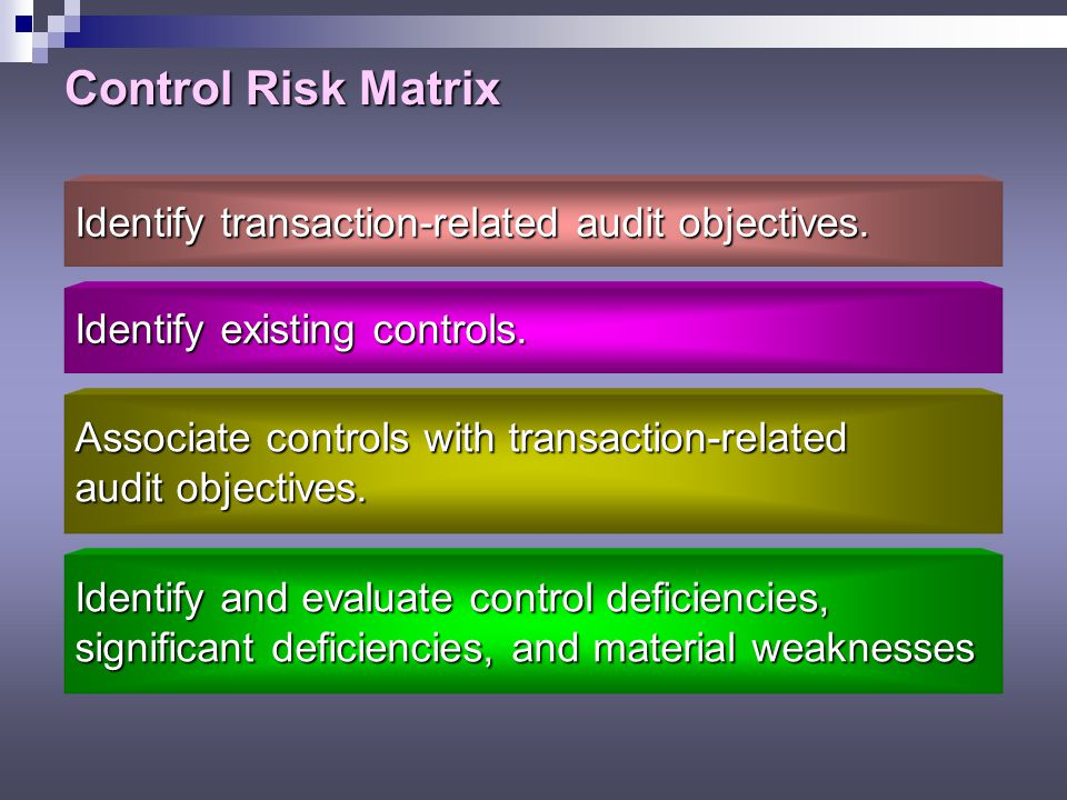 Control Risk Matrix Identify transaction-related audit objectives.