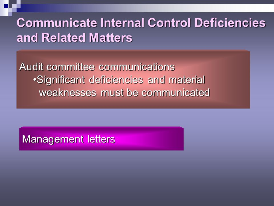 Communicate Internal Control Deficiencies and Related Matters
