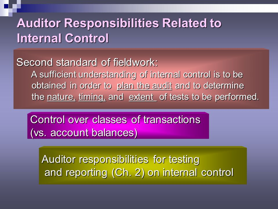 Auditor Responsibilities Related to Internal Control