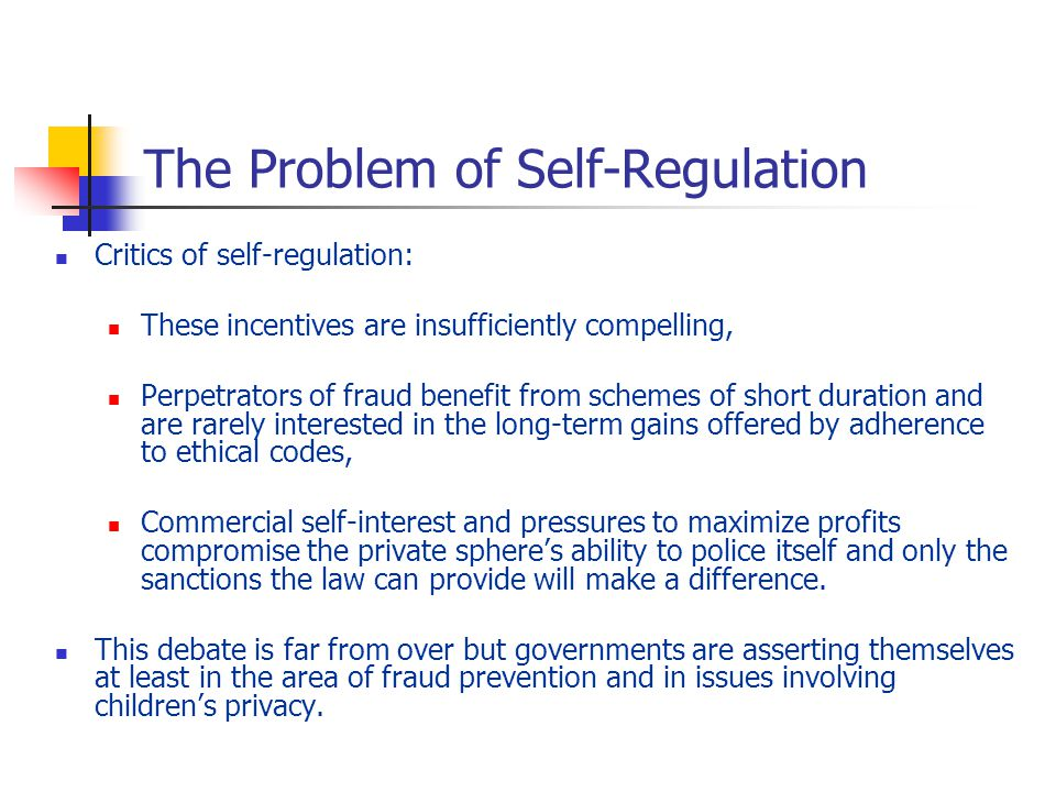 auditing self regulation and government regulation Cal, self-regulatory, or governmental intervention, peer-to-peer  douglas c michael, federal agency use of audited self-regulation as a.