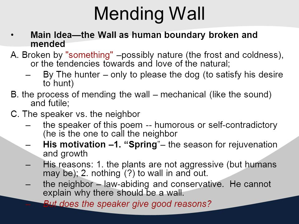 mending wall vs the lottery Xj kennedy & dana gioia developed literature: an introduction to fiction,  shirley jackson, the lottery   on mending wall.
