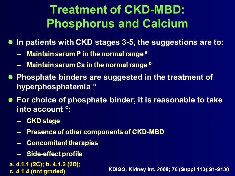 Treatment of CKD-MBD: Phosphorus and Calcium