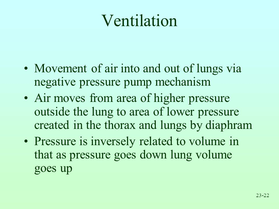 Ventilation Movement of air into and out of lungs via negative pressure pump mechanism.