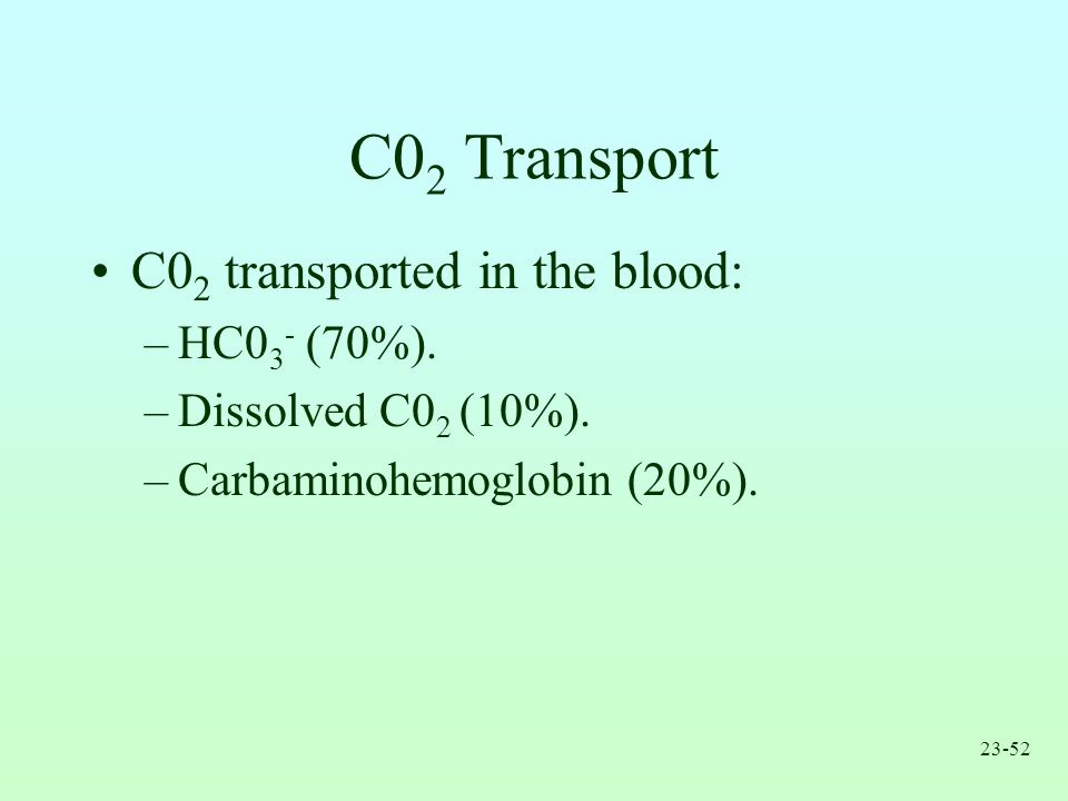 C02 Transport C02 transported in the blood: HC03- (70%).