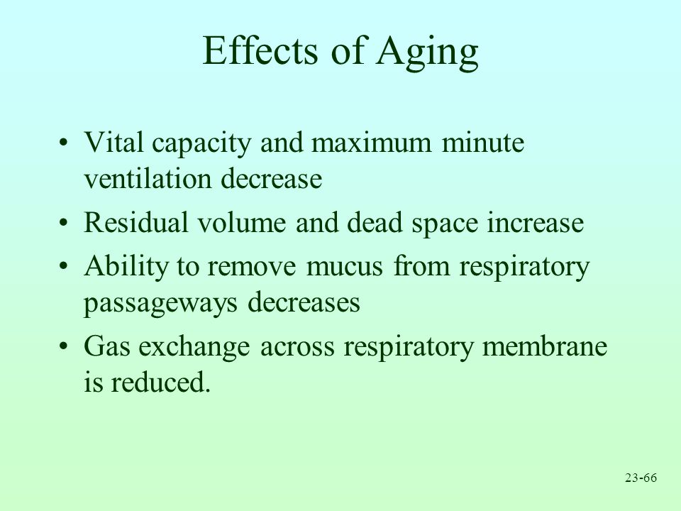 Effects of Aging Vital capacity and maximum minute ventilation decrease. Residual volume and dead space increase.