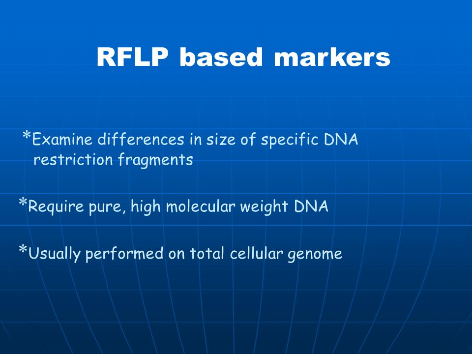 RFLP based markers *Examine differences in size of specific DNA restriction fragments. *Require pure, high molecular weight DNA.