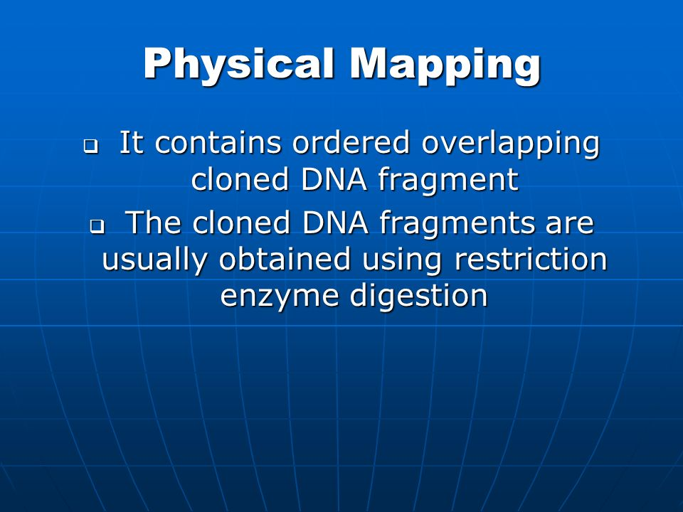 It contains ordered overlapping cloned DNA fragment