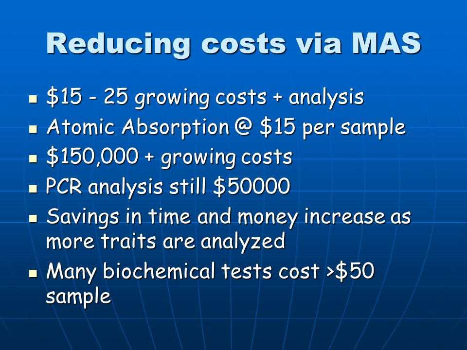 Reducing costs via MAS $ growing costs + analysis