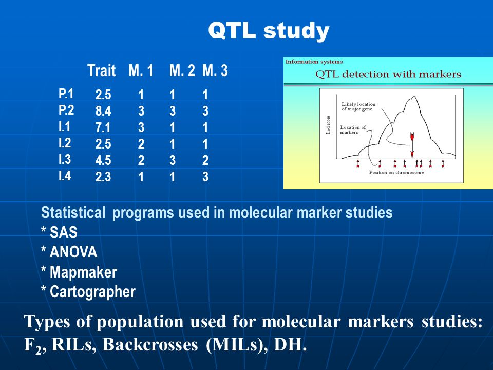 QTL study Types of population used for molecular markers studies: