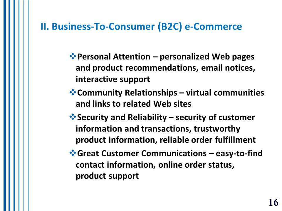 II. Business-To-Consumer (B2C) e-Commerce