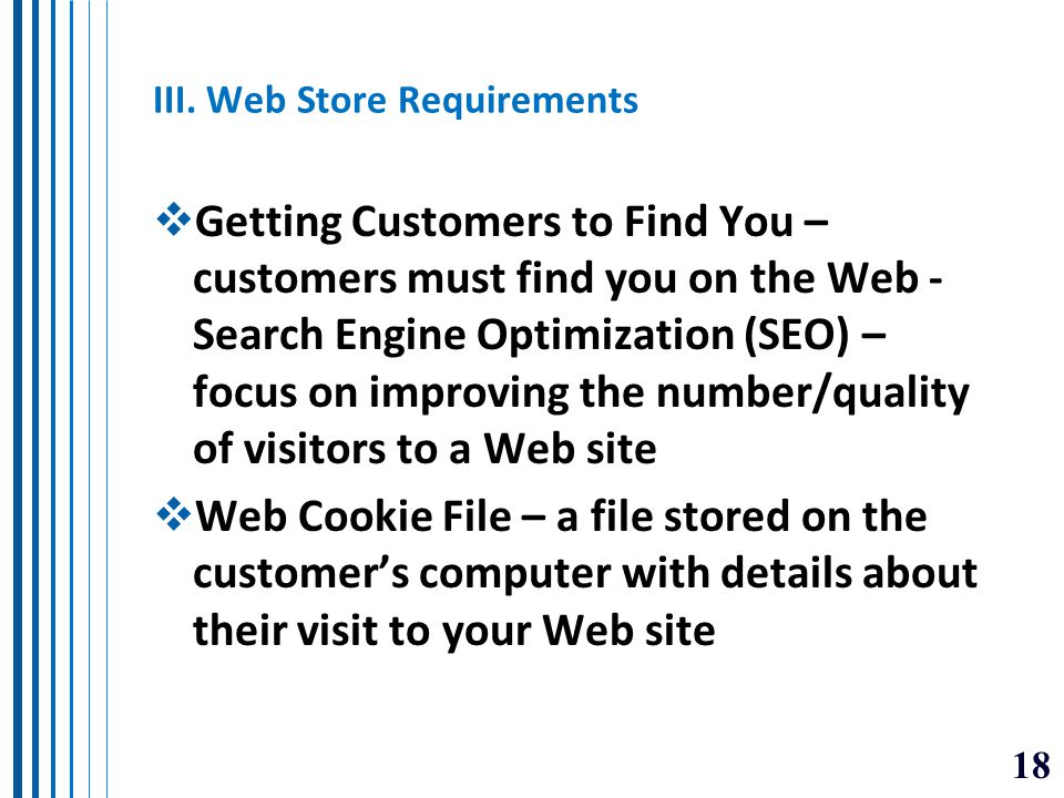 III. Web Store Requirements