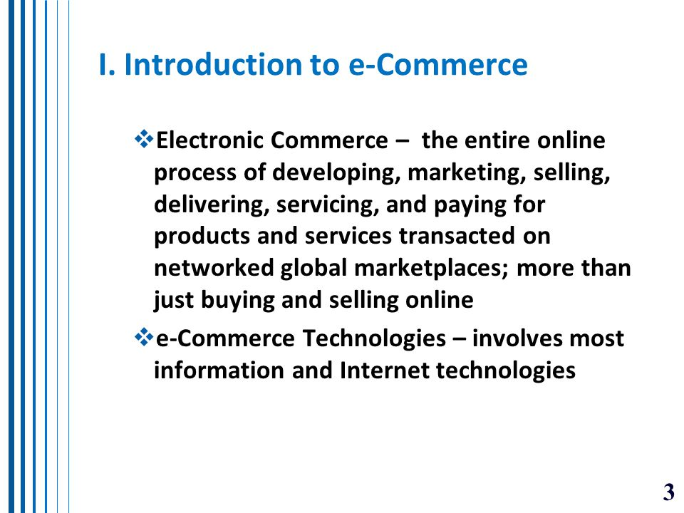 I. Introduction to e-Commerce