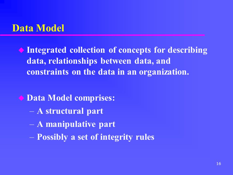 Data Model Integrated collection of concepts for describing data, relationships between data, and constraints on the data in an organization.
