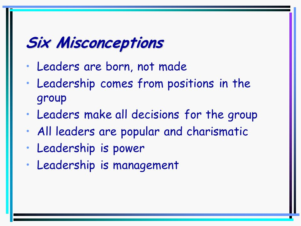 Six Misconceptions Leaders are born, not made