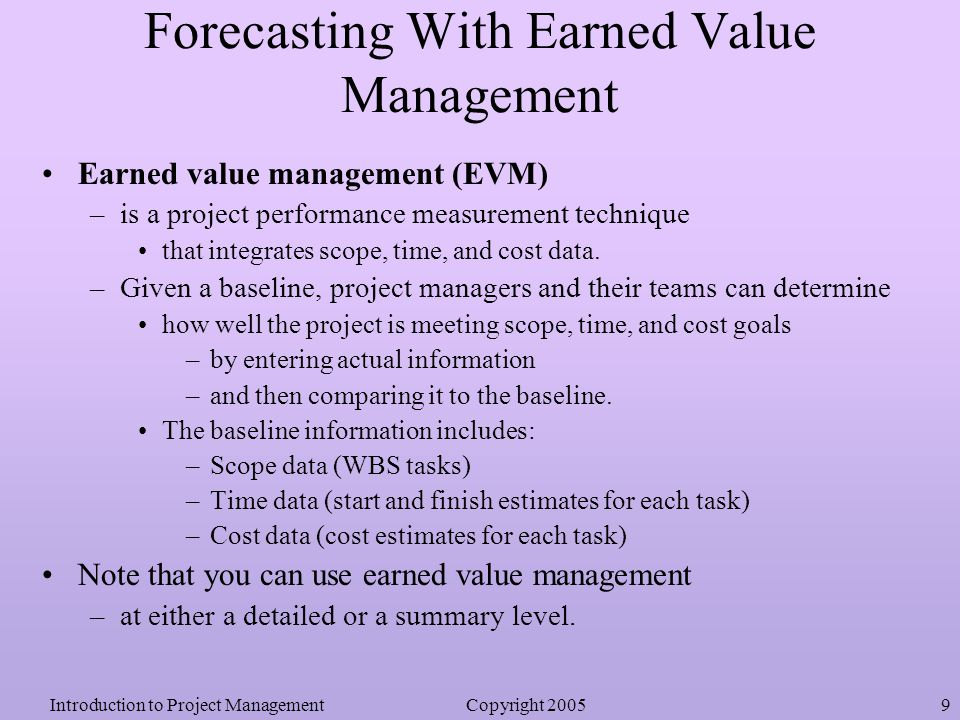 earned value analysis for chapter 7 Figure 7 the cost and schedule performance indices   range of  methodologies available to examine projects (e g, cost benefit analysis, return  on  next in the paper is a chapter subject to a discussion of the earned value,  followed by a.
