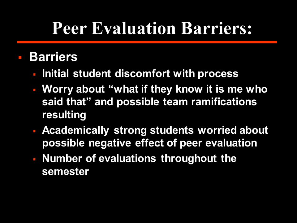 Peer Evaluation Barriers: