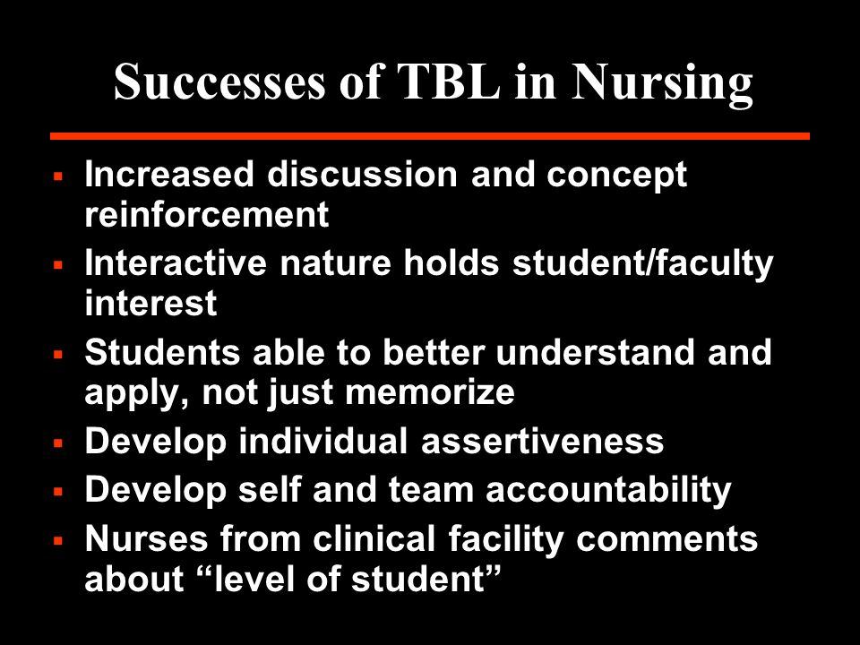 Successes of TBL in Nursing