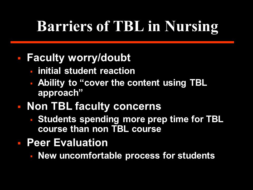 Barriers of TBL in Nursing