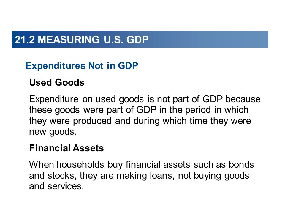 21.2 MEASURING U.S. GDP Expenditures Not in GDP Used Goods