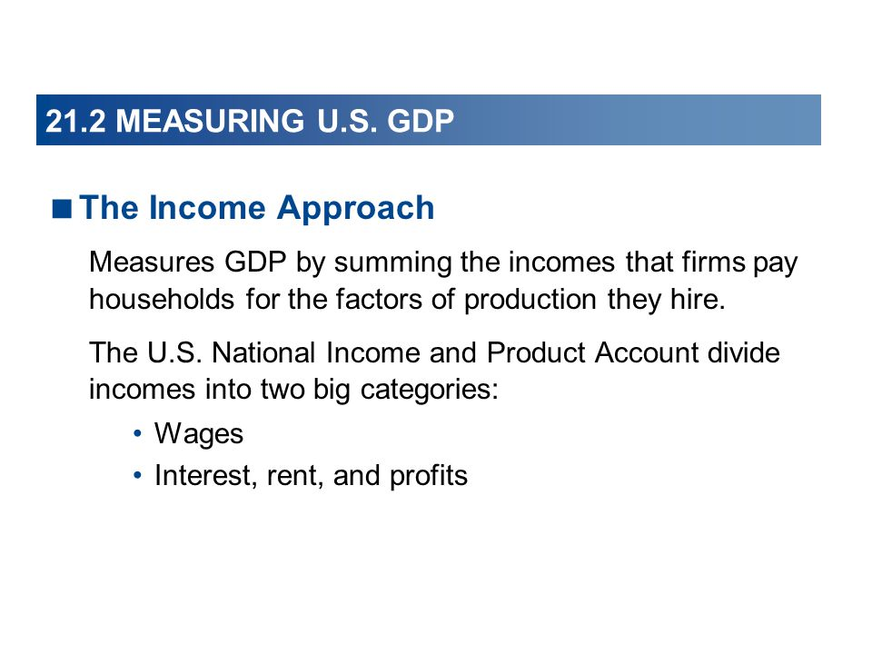 The Income Approach 21.2 MEASURING U.S. GDP
