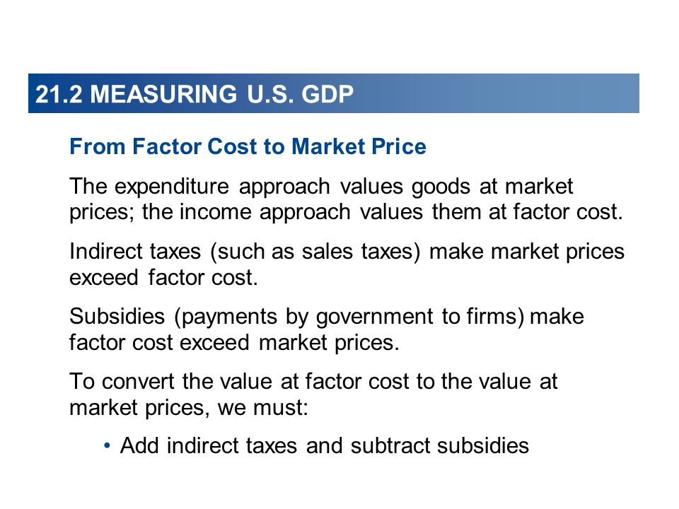 21.2 MEASURING U.S. GDP From Factor Cost to Market Price