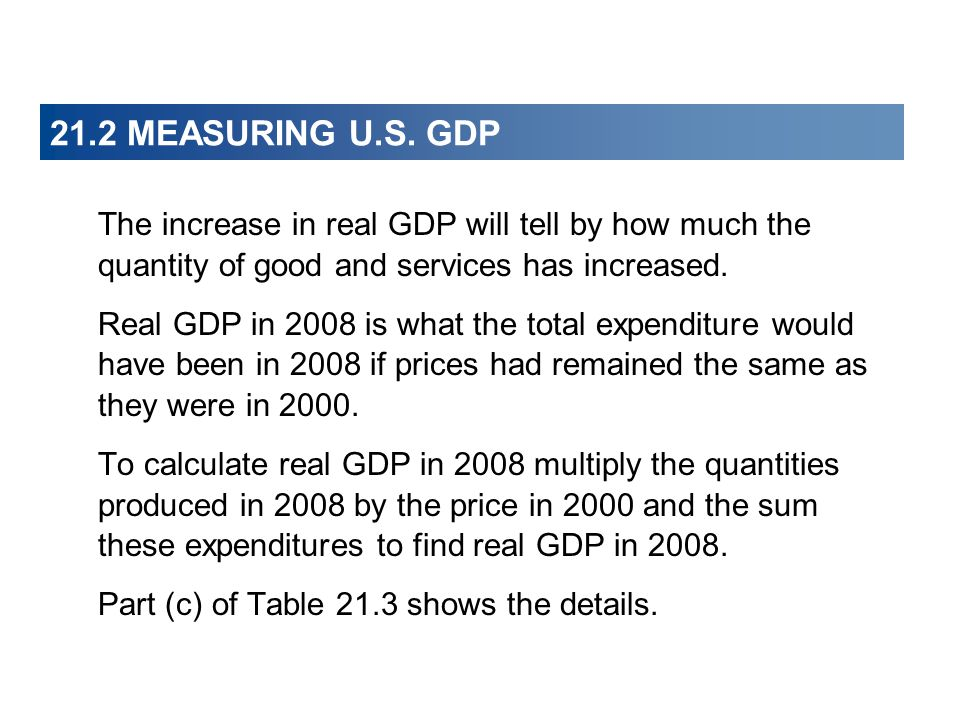 21.2 MEASURING U.S. GDP The increase in real GDP will tell by how much the quantity of good and services has increased.